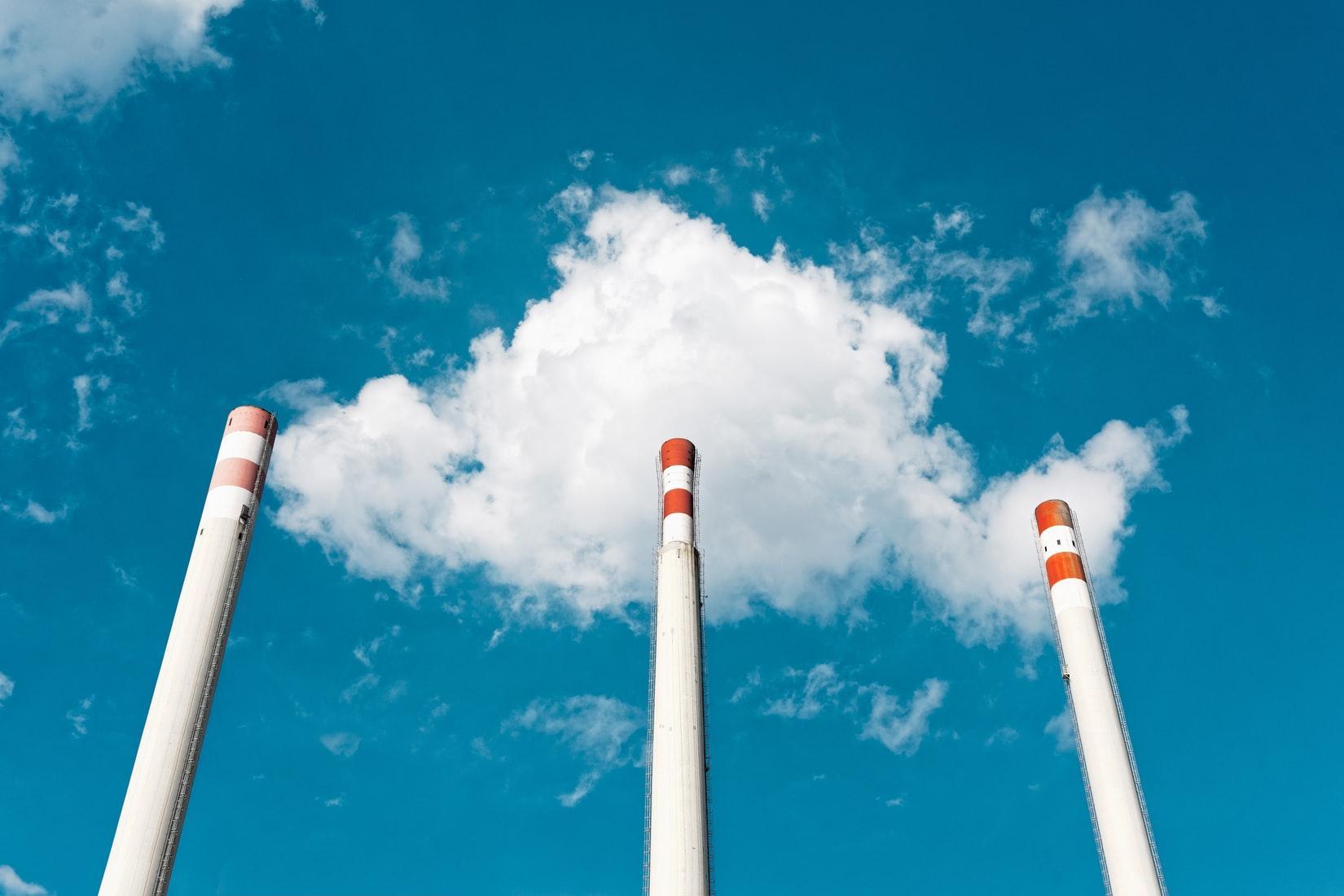 towers smoke sky