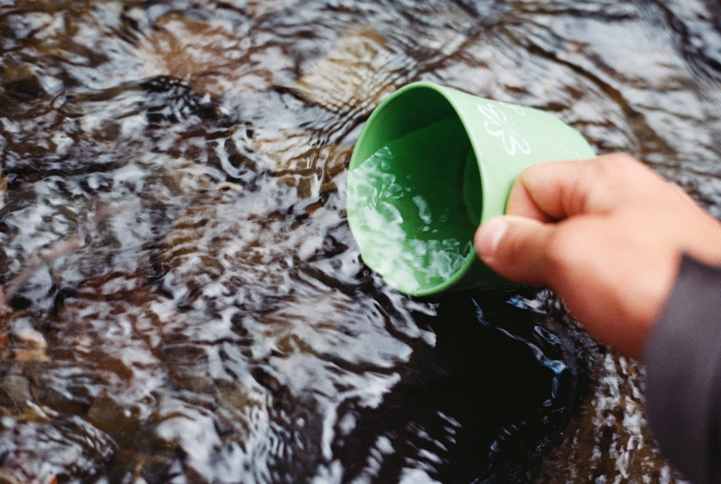 clean mountain water in cup