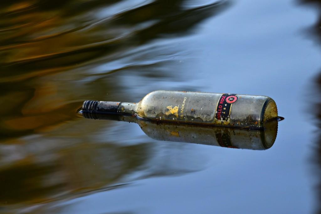 dirty bottle in water