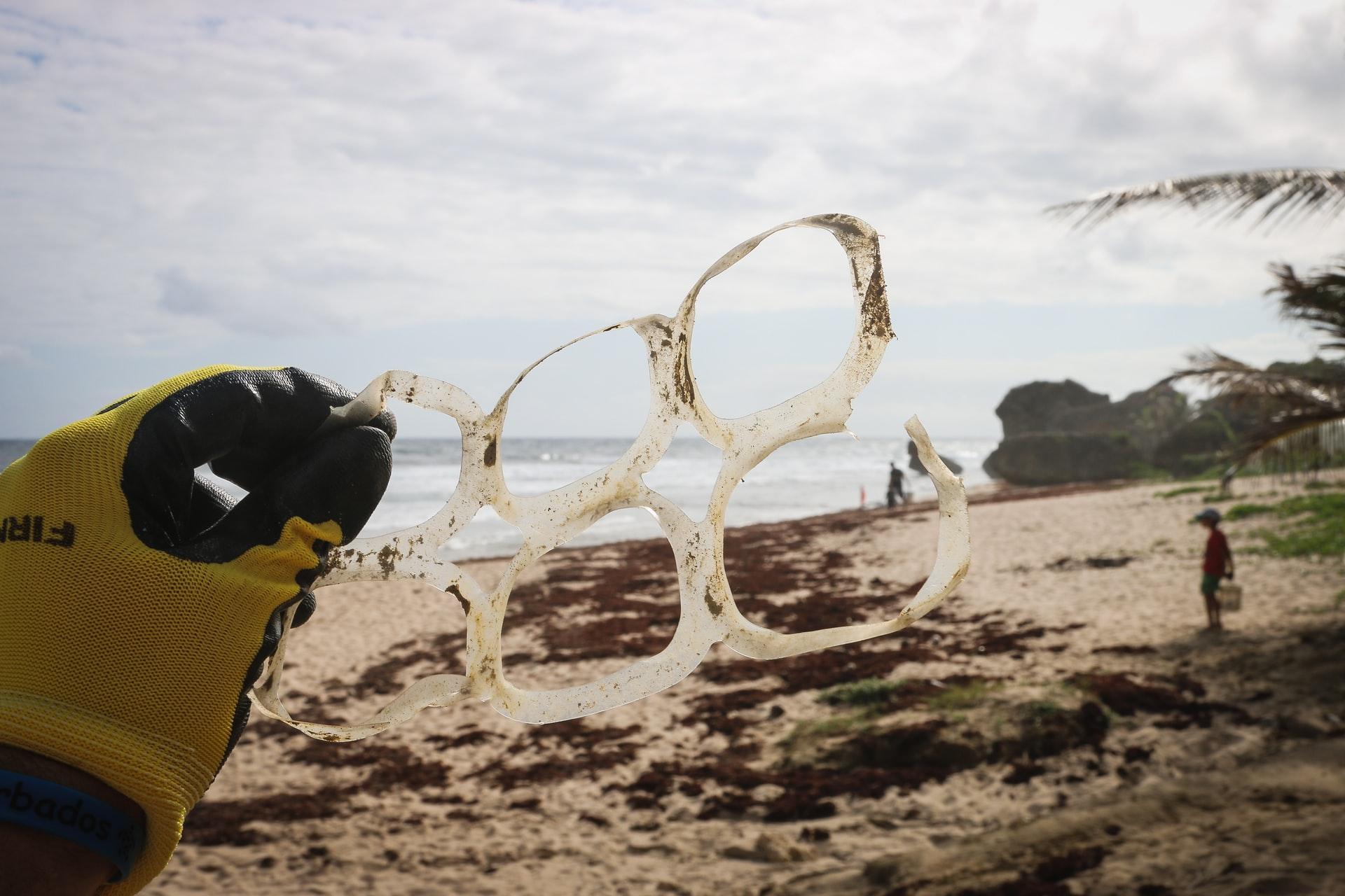 plastic trash in ocean water