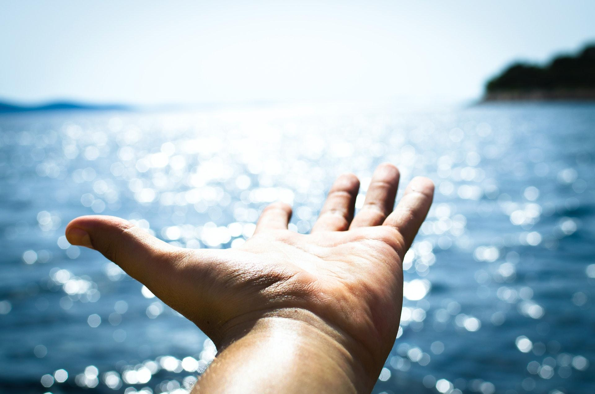 adult hand in front of ocean background